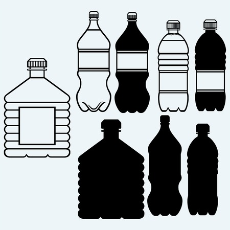 Set of water bottles. Isolated on blue background Vectores