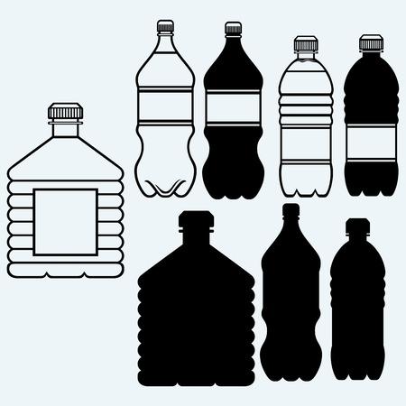 Set van flessen water. Geïsoleerd op blauwe achtergrond Stockfoto - 44827992