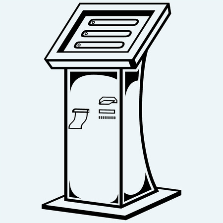 terminal: Interactive information kiosk. Terminal stand screen display console infokiosk. Isolated on blue background