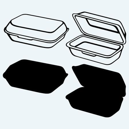 envases de plástico: Rectángulo de la comida de la espuma. Aislado en el fondo azul Vectores