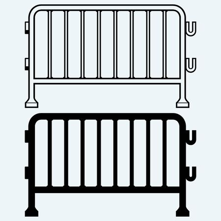 barricades: Steel barricades. Isolated on blue background Illustration