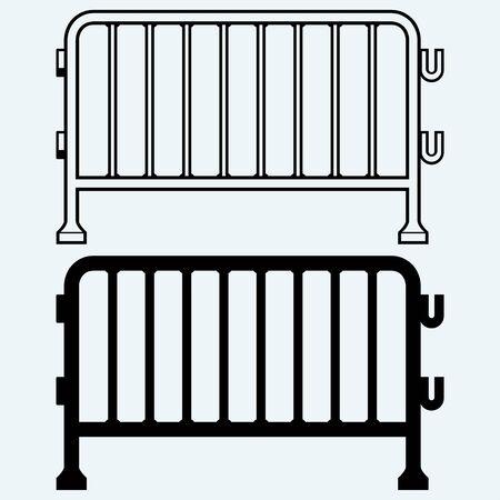 fence: Steel barricades. Isolated on blue background Illustration