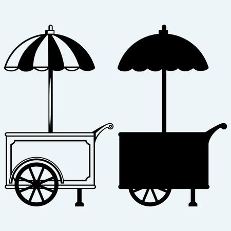 ice cream cart: Gelato carrello. Isolato su sfondo blu