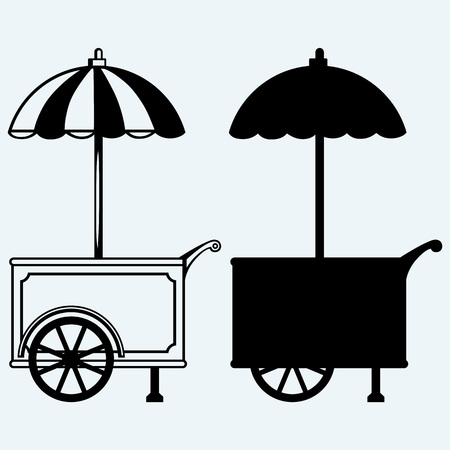 ice cream cart: Ice cream cart. Isolated on blue background