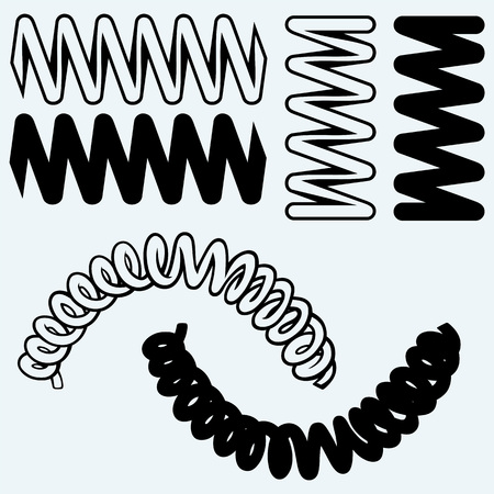 metal spring: Tension springs. Isolated on blue background