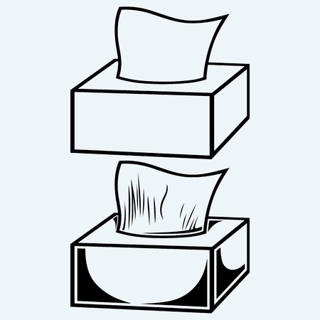 tissue paper: White tissue box. Isolated on blue background Illustration