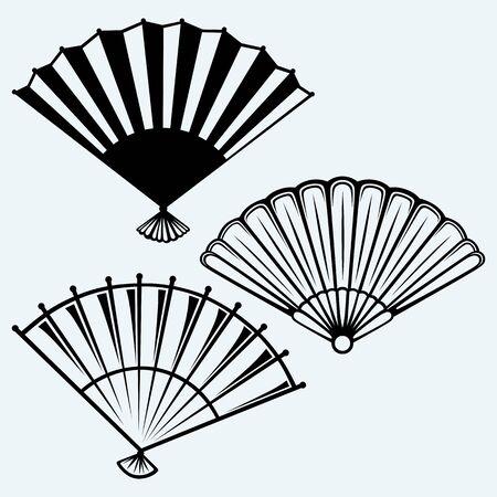 black fan: Japanese folding fan. Isolated on blue background