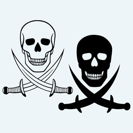 bleak: Skull and crossed swords. Isolated on blue background