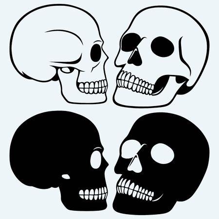dying: Human skull. Isolated on blue background Illustration
