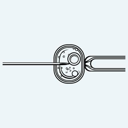 procreation: In vitro fertilisation. IVF. Isolated on blue background