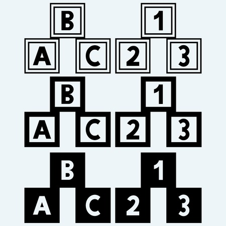 numerals: Alphabet cubes with A, B, C letters and numerals. Isolated on blue background