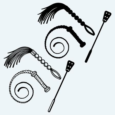 性的ロールプレイと SM ゲームの鞭の 3 種類。青の背景に分離