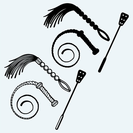 Three different types of whips for role-playing and SM games. Isolated on blue background