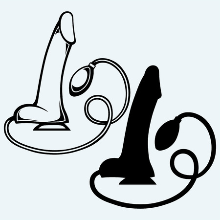 adults sex: Female vibrator. Isolated on blue background