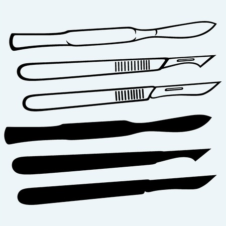 sterilized: Medical scalpels. Isolated on blue background
