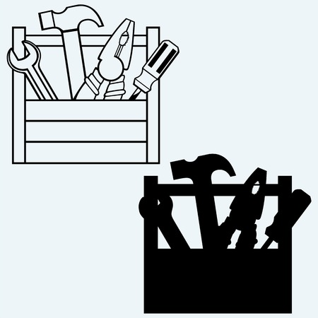 Toolbox with tools. Isolated on blue background