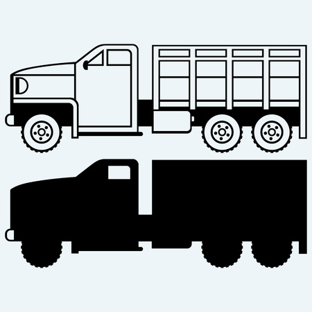 old world: Military truck. Isolated on blue background