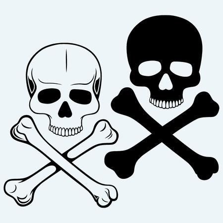 Skull and crossbones. Isolated on blue background Stock Illustratie