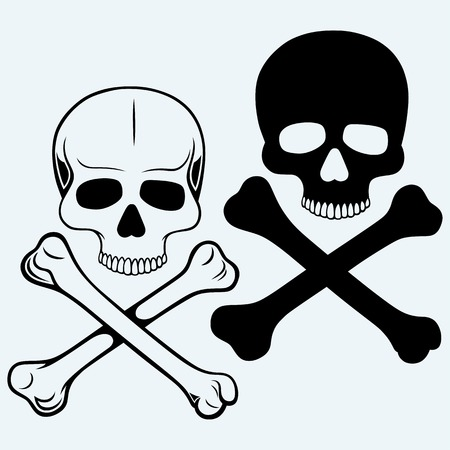 Skull and crossbones. Isolated on blue background Illustration