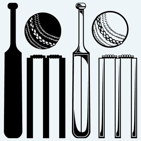 クリケットのための機器を設定します。クリケットのバットとボール。青の背景に分離