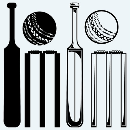 Set Ausrüstung für Cricket. Cricket-Schläger und Ball. Auf blauem Hintergrund isoliert Standard-Bild - 44829198