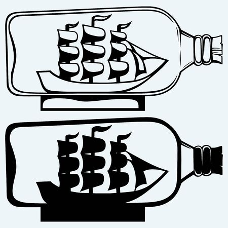 seafaring: Old sailboat in glass bottle. Isolated on blue background Illustration