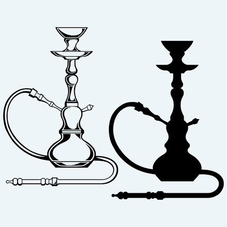 tobacco pipe: Eastern hookah. Isolated on blue background Illustration