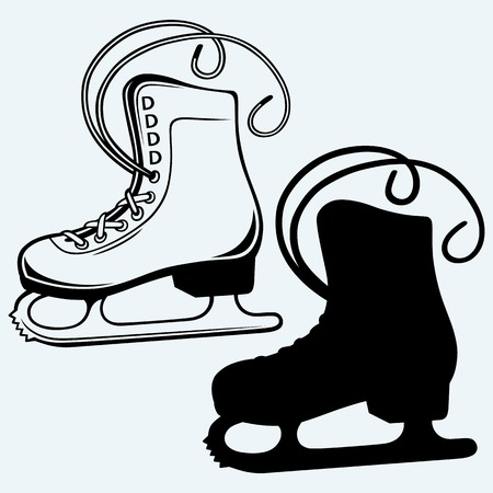 ice rink: White skates. Isolated on blue background Illustration