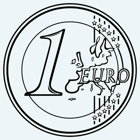 coin: One euro coin. Isolated on blue background