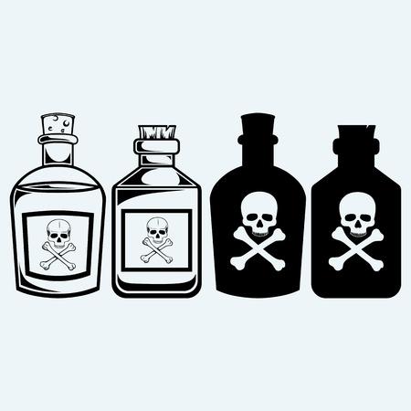 veneno frasco: Las botellas de vidrio de veneno. Aislado en el fondo azul