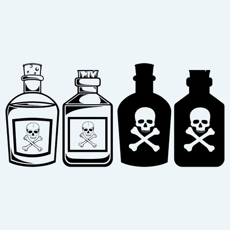 Glass bottles of poison. Isolated on blue background Illustration
