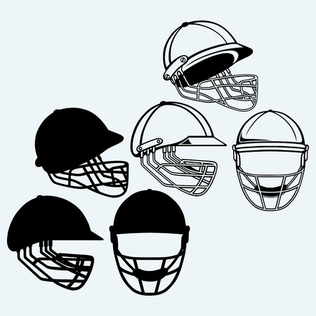 protection gear: Cricket helmet. Isolated on blue background