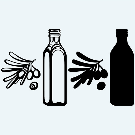 oilcan: Olive oil and olive branch. Isolated on blue background