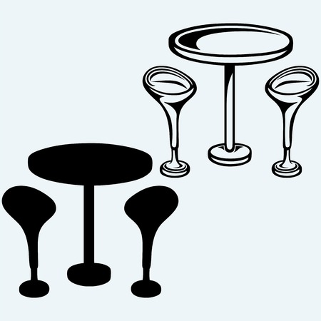 bar stool: Modern bar table with two chairs. Isolated on blue background