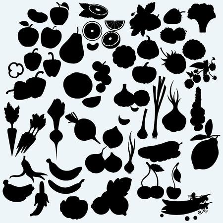 silhueta: , Frutas suculentas frescas e legumes, conjunto de colheita. Isolado no fundo azul. As silhuetas do vetor Ilustração