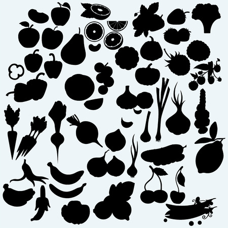 vector artwork: Fresh, juicy fruits and vegetables, set of harvest. Isolated on blue background. Vector silhouettes
