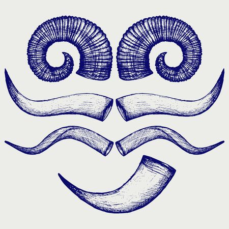 bocinas: Establecer cuernos de animales. Doodle estilo Vectores
