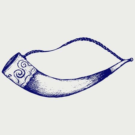 cuernos: Beber cuerno. Doodle estilo