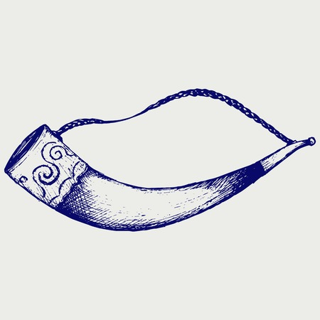 Drinking horn. Doodle style