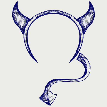 tail: Devils horns and tail. Doodle style Illustration