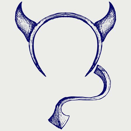 devil horns: Devils horns and tail. Doodle style Illustration