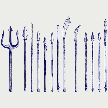 spear: Set spear. Doodle style Illustration