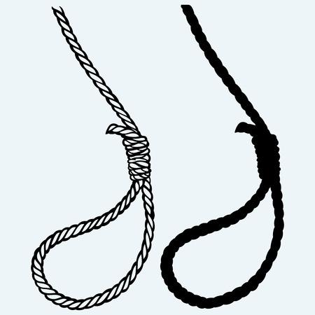 bucle: nudo del lazo clásico. Aislado en el fondo azul Vectores