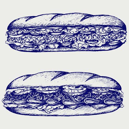 bocadillo: Sandwich Sub con chorizo, queso, lechuga y tomate. Aislado en el fondo azul. Siluetas del vector