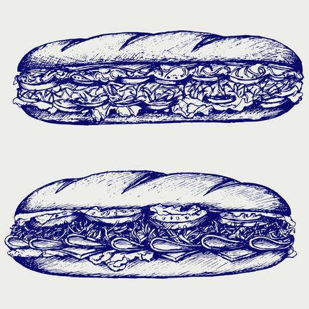 Sub Sandwich with sausage, cheese, lettuce and tomato. Isolated on blue background. Vector silhouettes Illustration