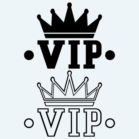 rey caricatura: Corona en el VIP acr�nimo. Aislado en el fondo azul. Siluetas del vector