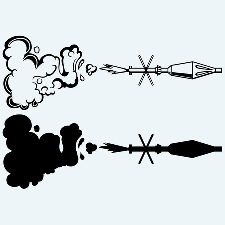 Anti-tank rocket propelled grenade launcher - RPG 7. Isolated on blue background. Vector silhouettes