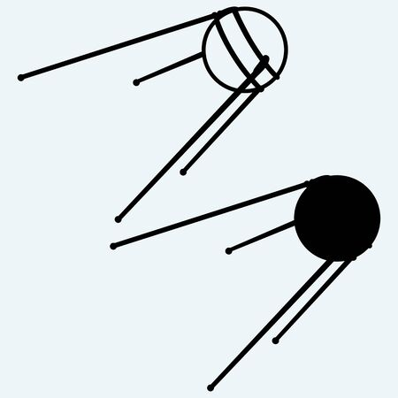 levitation: Soviet satellite. Isolated on blue background. Vector silhouettes
