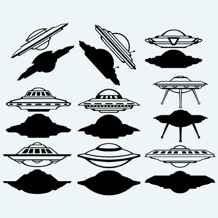 unidentified: UFO flying saucer set icon. Isolated on blue background. Vector silhouettes