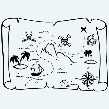 島の宝の地図。青の背景に分離されました。ベクター シルエット  イラスト・ベクター素材